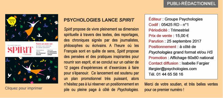 Psychologies lance SPIRIT