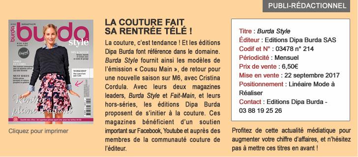 Burda style - La couture fait sa rentrée télé !